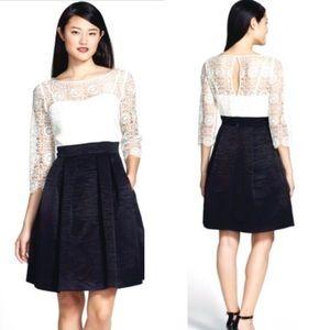 Eliza J Lace & Faille Fit & Flare Dress